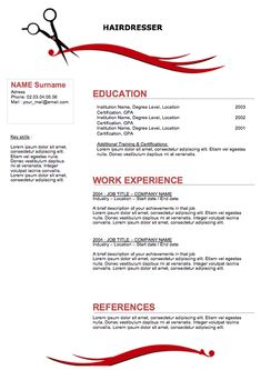 Hair Stylist Resume Template Free - http://www.resumecareer.info ...