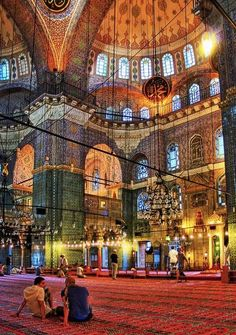 Inside the grand Blue Mosque in Istanbul, Turkey.