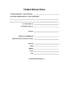 Do you have a medical release form for your kids medical child a printable form on which a parent gives consent for medical treatment of a minor in case of emergency free to download and print thecheapjerseys Gallery