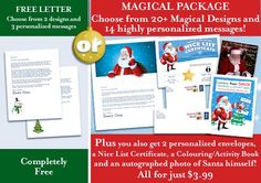 Free Letters from Santa! And Magical Packages too! Printable and ready in an instant...no more waiting by the mailbox!! Letters from Santa || www.easyfreesantaletter.com
