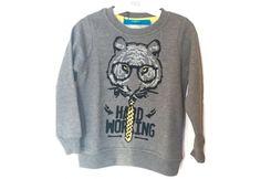 Funky Rocks gri  erkek sweatshirt. Kaplan baskılı. Kabartmalı baskılı sweatshirt. 2 yaştan 6 yaşa kadar mevcut.