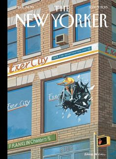 """A look at this week's cover, """"ExerCity,"""" by Bruce McCall: http://nyr.kr/15xLTRS"""
