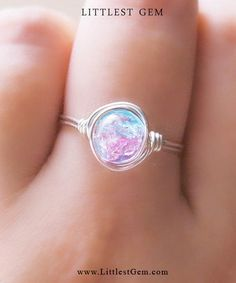 Silver Cotton Candy Ring - unique rings - galaxy ring - pink and blue - opal ring from littlest gem. #jewelry #beautiful #life #mermaids #makomermaids #mermaidring #ring #candy.