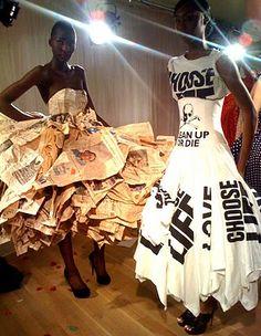 news paper dress.