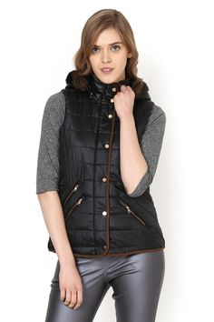 Black Plain Jacket - Jackets - Western - Lakshita Jeggings, Winter Jackets, Vest, Denim, Collection, Black, Style, Fashion, Moda
