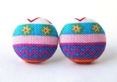 Easter egg stud earrings button spring bright pink by KooKooCraft, $12.50