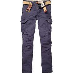 Scotch & Soda Kids - Boy's Night Blue Basic Cargo Pants with Canvas Belt