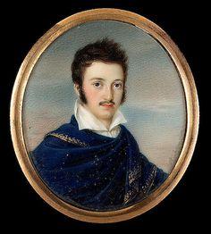 Anton Richter (Austrian, 1781-1850) : A Gentleman, wearing gold-edged blue cloak
