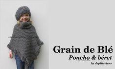 Ravelry: Poncho & Col - Grain de Blé pattern by benj of deptitsriens Crochet For Kids, Crochet Baby, Poncho Crochet, Kids Hats, Beret, Sewing Tutorials, Ravelry, Needlework, Knitting Patterns
