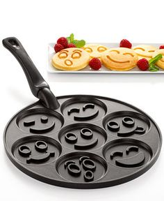 Nordic Ware Smiley Faces Pancake Pan - Bakeware - Kitchen - Macy's - Perfect for a little guy who loves pancakes! Hear that, Daddy? Cool Kitchen Gadgets, Kitchen Tools, Cool Kitchens, Kitchen Appliances, Clever Gadgets, Kitchen Utensils, Kitchen Stuff, Kitchen Dining, Funny Kitchen