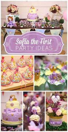 A gorgeous Sofia the First girl birthday party with pretty cupcakes, cake and party decorations!  See more party planning ideas at CatchMyParty.com!