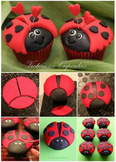 DIY Make Cute Ladybug Cupcakes - They are so many ladybug party ideas. The ladybug cupcake is certainly one of them. It is a gre - Ladybug Cookies, Ladybug Cupcakes, Ladybug Party, Ladybug Pretzels, Kitty Cupcakes, Snowman Cupcakes, Giant Cupcakes, Cupcakes Kids, Strawberry Cupcakes