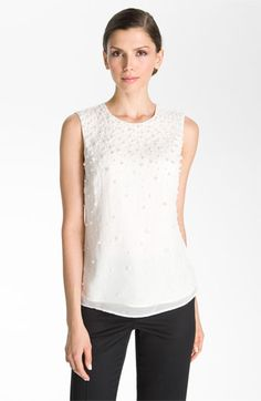 St. John Collection Beaded Silk Top | Nordstrom