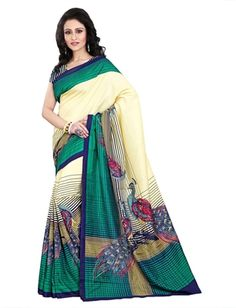 Pramukh Saris Women's Satin Saree With Blouse Piece White,Blue, Free Size) - Wedding Collections Bollywood Designer Sarees, Indian Designer Sarees, Designer Sarees Online, Art Silk Sarees, Silk Sarees Online, Fancy Sarees, Party Wear Sarees, Satin Saree, Ethnic Sarees