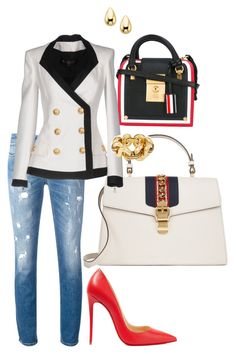 """Oh! You Mean Business?!!"" by la-harrell-styling-co on Polyvore featuring Christian Louboutin, Thom Browne, Gucci, Dolce&Gabbana and Balmain"