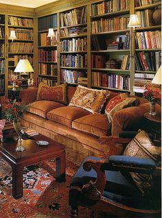home library - wall filled with books on bookshelves. Furniture in front of bookcase.