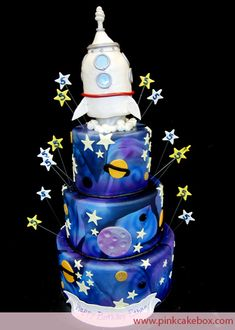 Rocketship Birthday Cake by Pink Cake Box