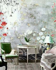 Bird Wallpaper Living Room Floral Wallpapers New Ideas De Gournay Wallpaper, Chinoiserie Wallpaper, Bird Wallpaper, Chinoiserie Chic, Bathroom Wallpaper, Silver Wallpaper, Wallpaper Wallpapers, Wall Design, House Design