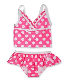 Loving this Pink & White Polka Dot Tankini - Infant, Toddler & Girls on #zulily! #zulilyfinds