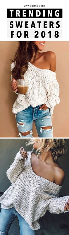 Chicnico Off Shoulder Loose Sweater Casual Outfits, Cute Outfits, Fashion Outfits, Urban Fashion, Love Fashion, Womens Fashion, Autumn Fashion 2018, Classy Casual, Loose Sweater