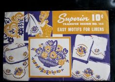 Superior 153 1940s Embroidery Transfer, Iron On, Pansy, Flower Basket, Garland Motifs