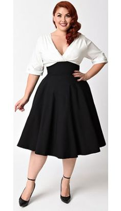 Unique Vintage Plus Size 1950s Style Black & White Delores Swing Dress