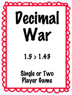 Math Center or Take to desk game - Comparing decimals to the Hundredths place