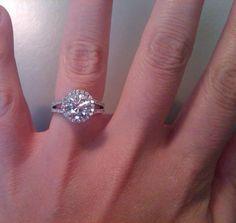 Halo e-rings anyone? =) :  wedding diamond e ring engagement ring halo moissanite IMG00174 20100510 1349