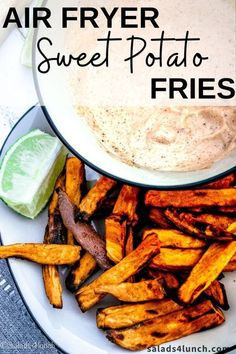 Super crispy and perfectly seasoned Sweet Potato Fries made in the air fryer! You only need 6 ingredients to make this mouthwatering snack or side dish. #sweetpotatofries #airfryerrecipe #airfryer Healthy Salad Recipes, Lunch Recipes, Real Food Recipes, Fall Recipes, Delicious Recipes, Healthy Food, Dinner Recipes, Air Fryer Sweet Potato Fries, Making Sweet Potato Fries