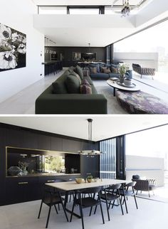 The social area of this modern house is open plan, with the living room, dining area, and kitchen all enjoying the natural light from the balcony. Luz Natural, Natural Light, Grey Wall Tiles, Dark Grey Walls, Sydney, 4 Bedroom House, Open Plan Living, Contemporary Interior, Interior Design Kitchen
