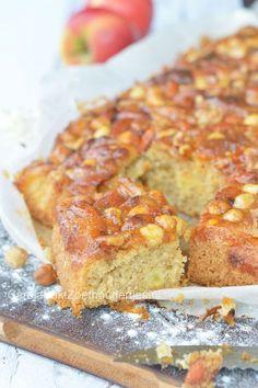 Plaatcake met appel, nootjes en dulce de leche