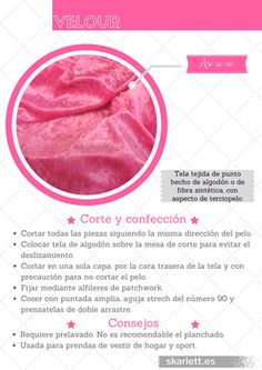 Recopilatorio de más de 60 telas diferentes con información sobre su corte y confección y curiosidades. #velour #telas #recopilatorio Fashion Sewing, Fashion Fabric, Diy Fashion, Sewing Basics, Sewing Hacks, Sewing Projects, Textile Texture, Textile Fabrics, How To Make Clothes