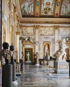 The gallery in Rome's Villa Borghese, built to house Cardinal Borghese's art collection of Greek and Roman statues.