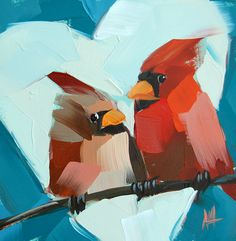Two Cardinals and Heart original bird oil painting by Moulton 6 x 6 inches on panel  prattcreekart