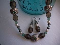 Light Teal and Brown Crystal Pearl and Silver by KelliesTreasure