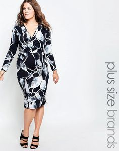 Image 1 of Club L Plus Midi Dress With Wrap Front In Leaf Print
