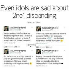 "It's a former member of U-Kiss. I'm just gonna put emphasis on his tweet about ""2ne1 being iconic that they are irreplaceable"" Also let's not let go, keep in mind that in business perspective ""If demand is high, Supply will come"" . . . . . #2ne1 #Ukiss #Alexander #Dara #Bom #CL #YG #minzy"