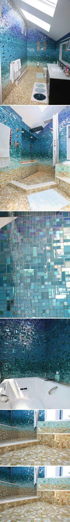 This bathroom features a custom tile design by Emily Jablon,  using different sized mosaic tiles & blending them in a seamless gradient. From Mother & Daughter Team, Susan & Emily Jablon :: http://www.susanjablon.com/bath/photos/glass-tile-bathroom-photos.html