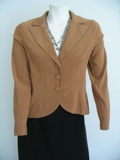Womens Jacket Blazer Light Brown Long Sleeves  I. N. Studio Size 6P #INSTUDIO #BasicJacket
