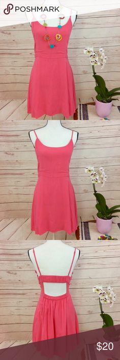 """American Eagle Outfitters Coral Sundress Gorgeous coral sundress with adjustable straps, liner, and elastic along the lower & upper back. 100% cotton. Measurements approximately as follows: bust 36"""", length (excluding straps) 27.5"""" and waist is 31"""". Excellent condition.  💥Necklace sold separately. B7 American Eagle Outfitters Dresses"""