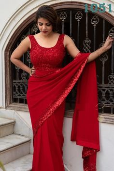 Red georgette sequence work partywear saree - Saree Fabric: Georrgte With full sequence border all over saree Saree Size : Beautiful Girl Indian, Most Beautiful Indian Actress, Beautiful Saree, Saree Dress, Sari, Red Saree, Saree Models, Saree Photoshoot, Saree Look