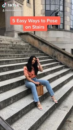Posing ideas on stairs Portrait Photography Poses, Fashion Photography Poses, Fashion Poses, Teenage Girl Photography, Best Photo Poses, Girl Photo Poses, Picture Poses, Cute Poses For Pictures, Shotting Photo