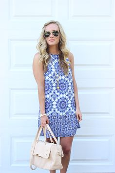 Blue Petal Print Sun Dress by Beachtime | Sun dresses, Sundresses ...
