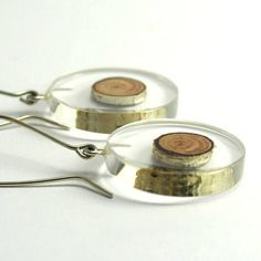 Resin Earrings, Gift For Her, Birch-Tree Resin Earrings, Natural Resin Earrings in Sterling Silver, Resin Jewelry  These earrings are of my own design and made entirely by me from the beginning. I start with embedding birch-tree stick in the resin liquid. Then I sand and polish it into a
