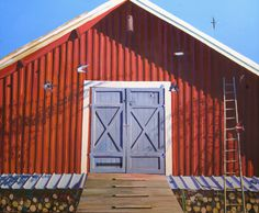 Karl Newman Red Barn 170 x 138 cms Oil on canvas 2017 Contemporary Paintings, Oil On Canvas, Cool Pictures, Shed, Barn, Outdoor Structures, Outdoor Decor, Home Decor, Converted Barn