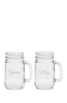 Culver - Yours & Mine Handled Jar Glass - Set of 2 Mason Jar Cups, San Diego Living, Glass Kitchen, Drinkware, 3 D, Pottery, Handle, Mugs, Glasses