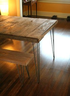 Materials: reclaimed wood, old growth Douglas fir, western cedar, steel hairpin legs, beeswax, recycled content steel, steel and wood table