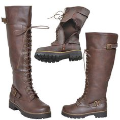 Womens Knee High Boots Accented Ankle Chain Lace Up Combat Boots Brown