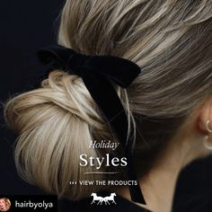 Simple and elegant. A black velvet bow is a timeless look. FOLLOW ALONG FOR WAYS TO WEAR A BOW #hairbow #hairbowsforsale #hairbows #hairstyles #bridgetbardot #hairstyles #hairinspiration #hairinspo #hairinfluencer #hairinstagram #hairinsta #hairaccessories #hairaccessory #hairbunstyle #hairbun #hairbuns #katemiddleton #timeless #timelessstyle #hairstylist #hair Hair Inspo, Hair Inspiration, Hair Bows For Sale, Ramirez Tran Salon, Black Hair Bows, Bridget Bardot, Holiday Fashion, Bun Hairstyles, Black Velvet