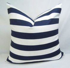 Horizontal Navy Stripe Pillow Cover . 18 x 18 inch by CentralHome, $16.00